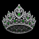 Corona diadem feminine wedding with emerald. Illustration corona diadem feminine wedding with emerald on black background Stock Photos