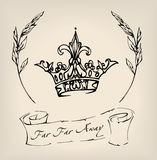 Corona dibujada tinta con la cinta y las ramitas El ejemplo se podía utilizar como la impresión, la muestra o tatuaje Fotografía de archivo