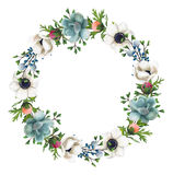 Corona dipinta a mano dei fiori e dei succulenti dell'acquerello Fotografia Stock