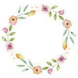 Corona dipinta a mano di Garland Delicate Spring Summer Floral del fiore dell'acquerello Fotografia Stock