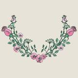 Corona disegnata a mano con i fiori Fotografia Stock