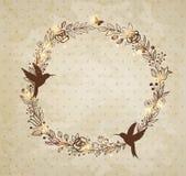 Corona disegnata a mano d'annata dei fiori Immagini Stock Libere da Diritti