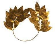Corona dorata antica dell'alloro alla testa Immagini Stock