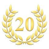 Corona dorata dell'alloro della corona dell'alloro per il ventesimo anniversario su un backgroundanniversary bianco su un fondo b royalty illustrazione gratis