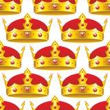 Corona dorata nel modello senza cuciture Fotografia Stock