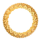 Corona dorata rotonda dell'alloro Immagini Stock Libere da Diritti