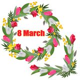 Corona e ghirlanda dei tulipani, dei narcisi bianchi e rosa e della mimosa con iscrizione l'8 marzo isolati su un fondo bianco illustrazione vettoriale