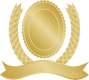 Corona e medaglione dell'alloro dell'oro Immagine Stock