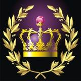 Corona e parte superiore dell'alloro Immagini Stock Libere da Diritti