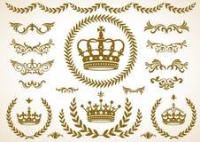 Corona ed alloro decorativi Immagini Stock