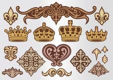 Corona ed ornamento decorativi Fotografie Stock