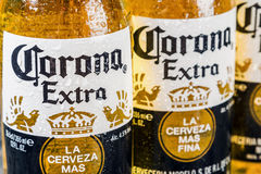 Corona extra beer global brand. Moscow, RUSSIA - April 6, 2017: Corona extra beer global brand. Corona extra Lager Beer is the flagship product of the Mexican Royalty Free Stock Photography