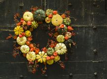 Corona fatta a mano di piccoli zucche e zucchini su una porta d'annata Fotografia Stock Libera da Diritti