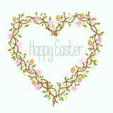 Corona felice del cuore di Pasqua Immagini Stock Libere da Diritti
