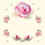 Corona floreale in acquerello Fotografia Stock