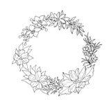 Corona floreale in bianco e nero Immagini Stock Libere da Diritti