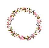 Corona floreale con i fiori della molla, chiavi Struttura rotonda dell'acquerello d'annata fotografia stock libera da diritti