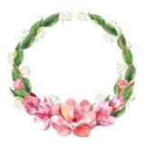 Corona floreale con la magnolia dell'acquerello Fotografia Stock