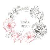 Corona floreale d'annata di vettore Per gli inviti o il logo di nozze Facile pubblicare Immagine Stock Libera da Diritti