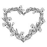 Corona floreale d'annata disegnata a mano sotto forma di cuore Vettore i Fotografia Stock
