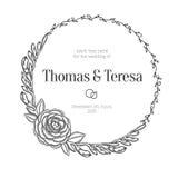 Corona floreale d'annata Invito di cerimonia nuziale Fotografia Stock