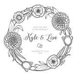 Corona floreale d'annata Invito di cerimonia nuziale Immagini Stock Libere da Diritti