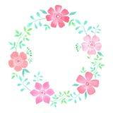 Corona floreale dell'acquerello Fotografia Stock