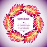 Corona floreale dell'acquerello della piuma variopinta Fotografia Stock Libera da Diritti