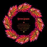 Corona floreale dell'acquerello della piuma variopinta Fotografia Stock