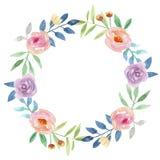 Corona floreale di Garland Delicate Pink Purple Summer dipinta blu della mano del fiore dell'acquerello Fotografie Stock Libere da Diritti