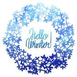 Corona floreale di inverno dell'acquerello Immagine Stock