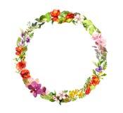 Corona floreale Fiori del prato di estate, farfalle watercolor royalty illustrazione gratis