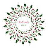 Corona floreale Invito, nozze o biglietto di auguri per il compleanno Blocco per grafici floreale Fondo dell'acquerello con i fio royalty illustrazione gratis