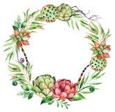 Corona floreale variopinta con il carciofo, fiori, foglie, piume Immagini Stock
