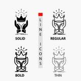 Corona, honor, rey, mercado, icono real en línea y estilo finos, regulares, intrépidos del Glyph Ilustraci?n del vector libre illustration