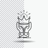 Corona, honor, rey, mercado, línea real icono en fondo transparente Ejemplo negro del vector del icono libre illustration