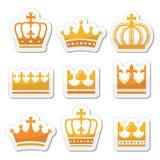 Corona, icone dell'oro della famiglia reale messe Fotografia Stock