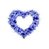 Corona lilla dell'acquerello nella forma di cuore Immagine Stock Libera da Diritti