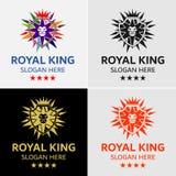 Corona Lion King Crest Logo Template Fotografia Stock Libera da Diritti