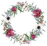 Corona mista dei fiori dell'acquerello dipinto a mano Fotografie Stock