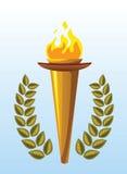 Corona olimpica dell'alloro e della torcia Immagine Stock
