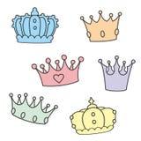 Corona pastello di vettore messa su fondo bianco royalty illustrazione gratis