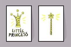 Corona, pequeña princesa y vara mágica Dos carteles color amarillo y línea negra Sistema de la decoración del vector para la much ilustración del vector