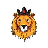 Corona que lleva del logotipo de la cabeza del león stock de ilustración