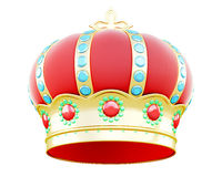 Corona real aislada en el fondo blanco 3d rinden los cilindros de image Fotos de archivo libres de regalías