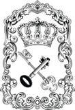 Corona real y claves del marco. Fotos de archivo libres de regalías
