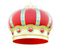 Corona reale isolata su fondo bianco 3d rendono i cilindri di image Fotografie Stock Libere da Diritti