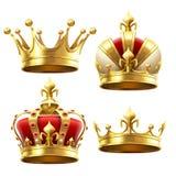 Corona realista del oro Tocado de coronación para el rey y la reina Sistema real del vector de las coronas ilustración del vector