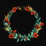 Corona rossa dei papaveri dell'acquerello Fotografia Stock