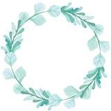 Corona rotonda con le foglie verde chiaro dell'acquerello royalty illustrazione gratis
